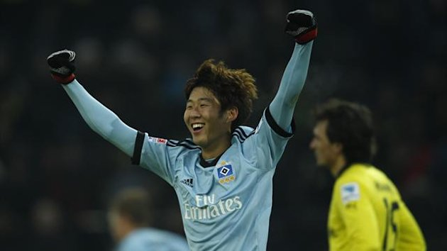 Hamburger SV's Heung Min Son celebrates a goal against Borussia Dortmund