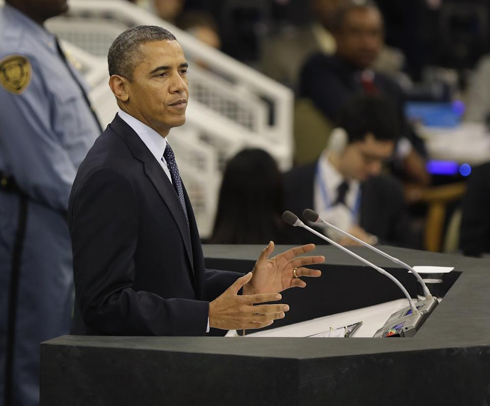 U.S. President Barack Obama speaks during the 68th session of the General Assembly at United Nations headquarters Tuesday, Sept. 24, 2013. (AP Photo/Seth Wenig)