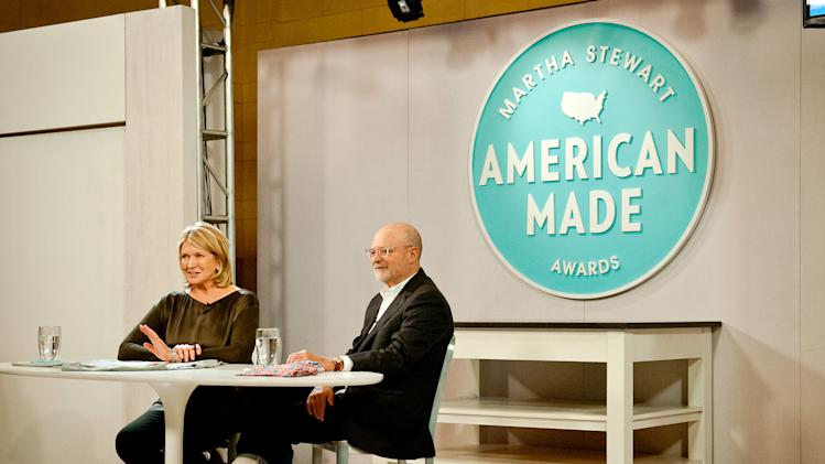 This image released by the American Made Awards shows Martha Stewart, left, during an interview with J. Crew CEO Millard Drexler at Grand Central Terminal's Vanderbilt Hall as part of Stewart's American Made project in New York on Wednesday, Oct. 17, 2012. (AP Photo/American Made Awards, Gabi Porter)