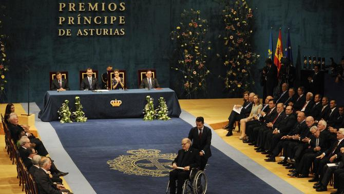 Argentine cartoonist Joaquin Salvador Lavado, also known as Quino, receives the 2014 Prince of Asturias award for Communication and Humanities in Oviedo
