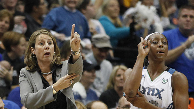 Minnesota Lynx head coach Cheryl Reeve calls out a play next to guard Monica Wright (22) prior to a play against the Indiana Fever in the first half of Game 2 of the WNBA basketball Finals Wednesday, Oct. 17, 2012, in Minneapolis. (AP Photo/Stacy Bengs)