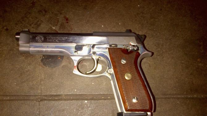 The firearm which police said was recovered on the subway platform near the body of shooting suspect Ismaaiyl Brinsley