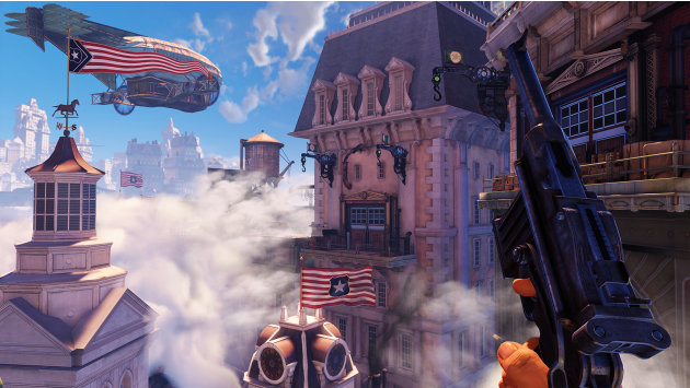 "This undated publicity photo provided by 2K Games/Irrational Games shows  a scene from the video game, ""BioShock Infinite.""  ""Infinite"" was originally set for release this year before it was pushed to"