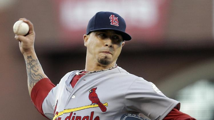 St. Louis Cardinals starting pitcher Kyle Lohse throws during the first inning of Game 7 of baseball's National League championship series against the San Francisco Giants Monday, Oct. 22, 2012, in San Francisco. (AP Photo/Ben Margot)