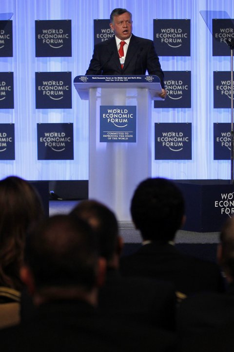 Jordan's King Abdullah speaks at the opening ceremony of the World Economic Forum on the Middle East and North Africa at the Dead Sea