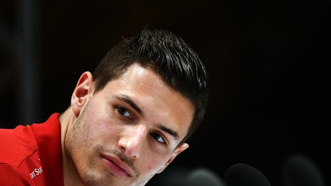 Switzerland's defender Fabian Schaer takes part in a press conference on June 8, 2014 at the Praia Hotel in Porto Seguro, prior to the start of the 2014 FIFA World Cup in Brazil