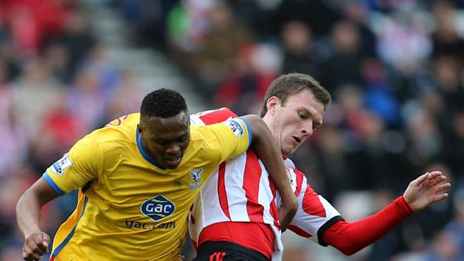 Sunderland's Craig Gardner, right, vies for the ball with  Crystal Palace's Kagisho Dikgacoi, left,  during their English Premier League soccer match at the Stadium of Light, Sunderland, England, Saturday, March 15, 2014
