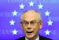 European Council President Herman Van Rompuy speaks at a news conference after a Tripratite Social Summit ahead of an EU leaders meeting in Brussels October 24, 2013. REUTERS/Yves Herman