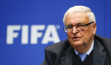 Zwanziger former president of the German Football Association and member of the FIFA's executive committee addresses a news conference in Zurich