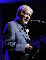 Larry Henley speaks as he is inducted into the Nashville Songwriters Hall of Fame on Sunday, Oct. 7, 2012, in Nashville, Tenn. (AP Photo/Mark Humphrey)