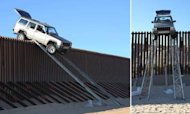 Smugglers' Jeep Gets Stuck On US Border Fence