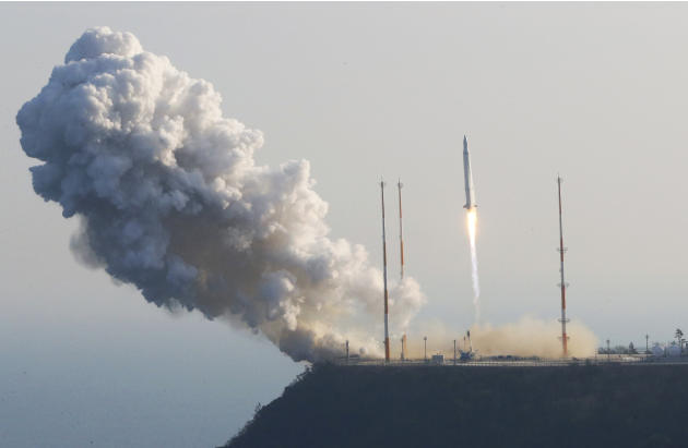 South Korea's rocket lifts off from its launch pad at the Naro Space Center in Goheung, South Korea, Wednesday, Jan. 30, 2013. South Korea says it has successfully launched a satellite into orbit from