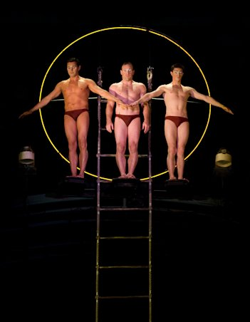 "Belarusian diver Sergei Kudrevich (center) in ""O"" by Cirque du Soleil at Bellagio, Las Vegas, (Cirque du Soleil Inc.)"