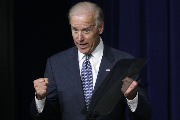 "In this May 10, 2012, photo, Vice President Joe Biden gestures while speaking to students and educators about student loans during a White House Briefing on College Affordability in the Eisenhower Executive Office Building on the White House campus in Washington. After Joe Biden voiced his support for gay marriage ahead of President Barack Obama, there was only one thing for the vice president to do: apologize. Biden did that on Wednesday in the Oval Office. He apologized shortly before Obama sat for a hastily arranged interview in which he told the public he supported gay marriage. Biden had made similar comments on Sunday without permission from the White House. His remarks thrust gay marriage into the political spotlight and focused fresh attention on what Obama has called ""evolving"" views on gay marriage. (AP Photo/Charles Dharapak)"