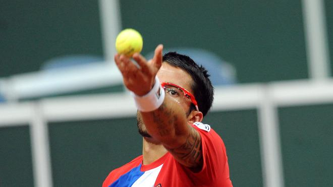 Serbia's Janko Tipsarevic Serves AFP/Getty Images