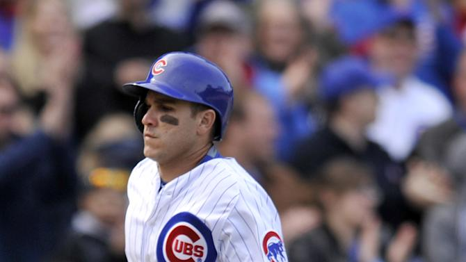 Chicago Cubs' Miguel Montero (47) rounds the bases after hitting a two-run home run during the seventh inning of an MLB baseball game against the San Diego Padres Saturday, April 18, 2015, in Chicago. Chicago won 7-6 in eleven innings. (AP Photo/Paul Beaty)