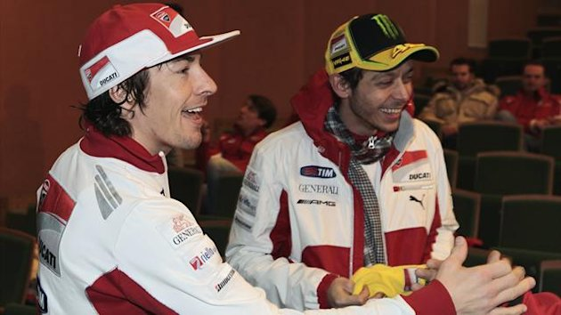 Ducati MotoGP riders Valentino Rossi (R) of Italy and Nicky Hayden of the U.S. (Reuters)