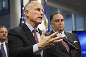 California Governor Brown announces emergency drought legislation at the CalO ES State Operations Center in Mather