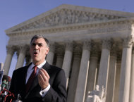 FILE - In this Jan. 7, 2008 file photo, attorney Donald Verrilli, who argued against the use of a three drug cocktail used to execute inmates, gestures as he talks to media outside the Supreme Court in Washington, after arguments about the lethal injection death penalty. The Supreme Court on Monday, Nov. 14, 2011, promised an extraordinarily thorough springtime review of President Barack Obama's historic health care overhaul _ more than five hours of argument, unprecedented in modern times _ in time for a likely ruling affecting millions of Americans just before the presidential election. Verrilli, the current solicitor general, is expected to defend the law before the justices. (AP Photo/Evan Vucci, File)