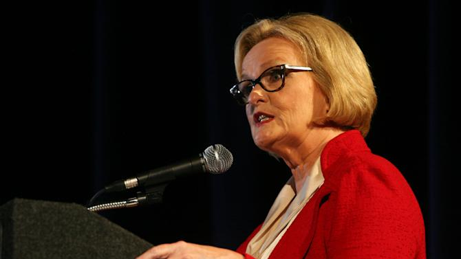 Democratic Sen. Claire McCaskill speaks as she takes on Republican Rep. Todd Akin during the second debate in the Missouri Senate race Thursday, Oct. 18, 2012, in Clayton, Mo. (AP Photo/Emily Rasinski)