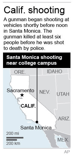 Graphic locates Santa Monica where a shooting took place near a college campus. Updated with new death toll.
