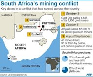<p>Map of South Africa locating strikes at Kopanang, Marikana and Rustenberg mines as at October 9, 2012. Efforts to end a rash of gold mine strikes that have strangled South African production ran into deadlock on Monday with no further talks planned, leaving tens of thousands of workers facing the threat of dismissal.</p>