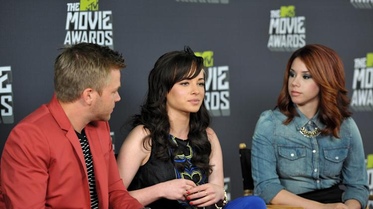 "From left, Brett Davern, Ashley Rickards and Jillian Rose Reed, from the cast of ""Awkward."" participate in an interview during the MTV Movie Awards Press Day at Sony Studios on Thursday, April 11, 2013, in Culver City, Calif. (Photo by John Shearer/Invision for MTV Networks/AP Images)"