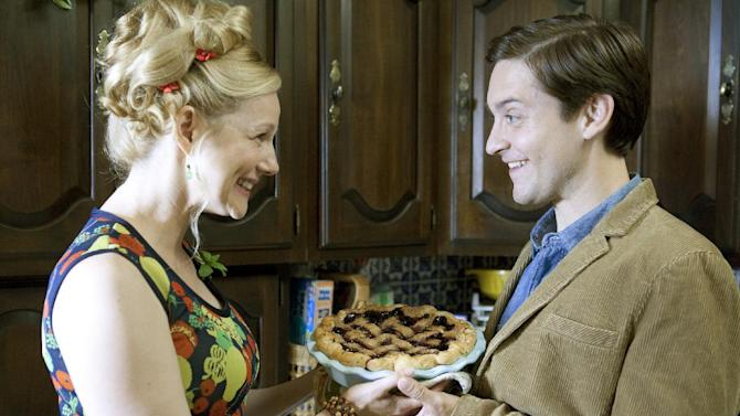 """This film image released by Radius/The Weinstein Company shows Laura Linney, left, and Tobey Maguire in a scene from, """"The Details."""" (AP Photo/Radius/The Weinstein Company, Jan Cook)"""