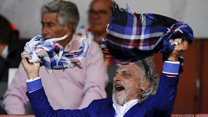 Sampdoria's President Ferrero reacts during their Italian Serie A soccer match against Inter Milan at the Marassi stadium in Genoa