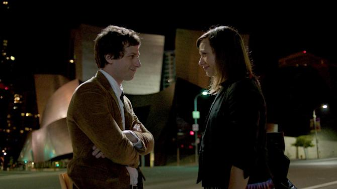 """This film image released by Sony Pictures Classics shows Andy Samberg as Jesse, left, and Rashida Jones as Celeste in a scene from """"Celeste & Jesse Forever."""" (AP Photo/Sony Pictures Classics, David Lanzenberg)"""