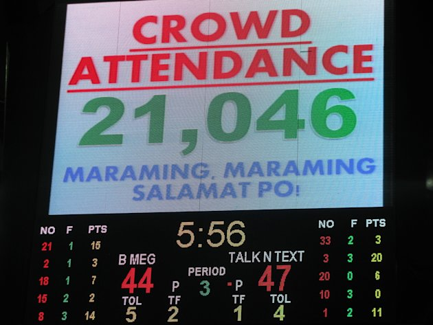 The jumbotron shows the total attendance