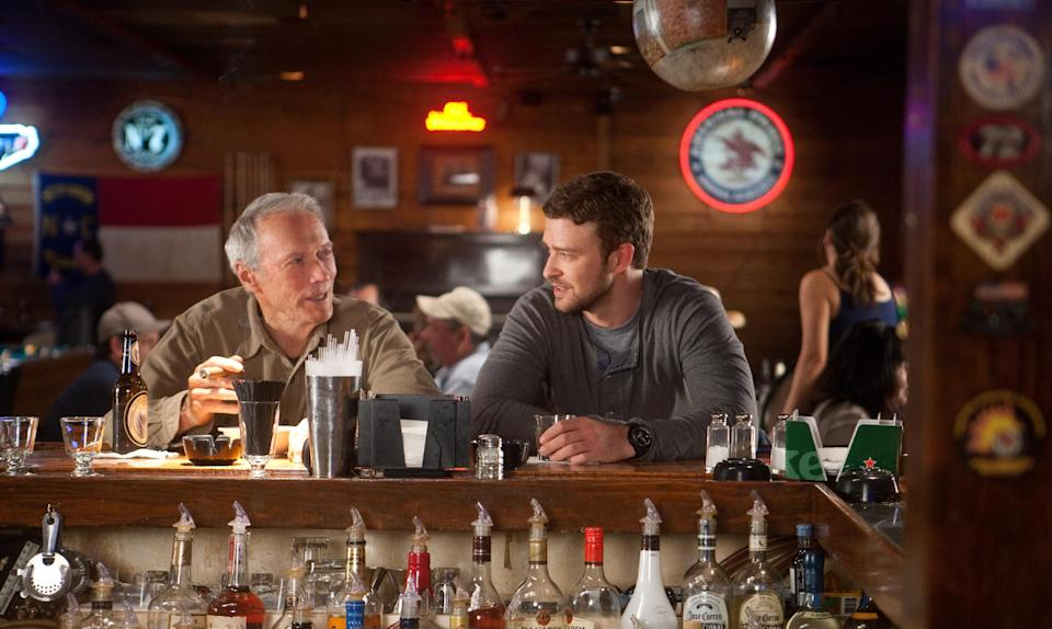 "This film image released by Warner Bros. Pictures shows Clint Eastwood, left, and Justin Timberlake in a scene from ""Trouble with the Curve.""  (AP Photo/Warner Bros. Pictures, Keith Bernstein)"