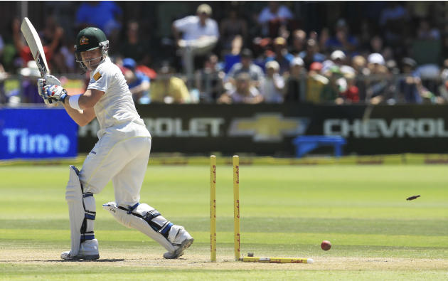Australia's batsman Brad Haddin is bowled by South Africa's bowler Dale Steyn, for 9 runs on the third day of their 2nd cricket test match against South Africa at St George's Park in Port