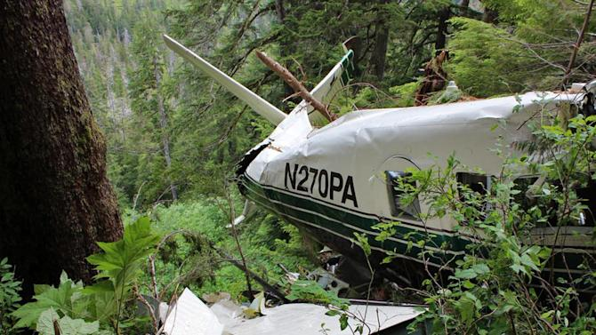 This photo, posted Sunday, June 28, 2015, on the Twitter page of the National Transportation Safety Board, shows the wreckage of a sightseeing plane that crashed in remote, mountainous terrain about 25 miles from Ketchikan in southeast Alaska on Thursday, June 25. All eight pasengers and the pilot were killed. The plane was on its way back from the Misty Fjords National Monument when it crashed. The eight victims were passengers on a cruise ship, and the side trip on a floatplane was sold through the cruise company Holland America. (National Transportation Safety Board via AP)