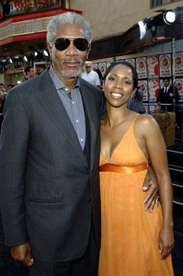 Morgan Freeman and daughter at the Hollywood premiere of Warner Bros. Pictures' Batman Begins