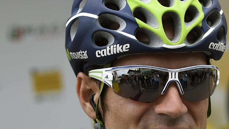 Alejandro Valverde before the start of the ninth stage of the Tour de France on July 13, 2014 between Gerardmer and Mulhouse, eastern France