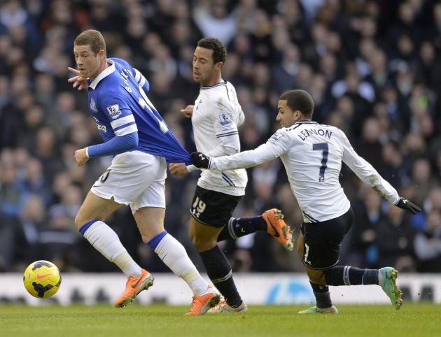 Tottenham Hotspur's Aaron Lennon holds the shirt of Everton's Ross Barkley during their English Premier League soccer match at White Hart Lane in London