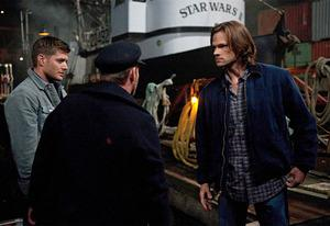 Jensen Ackle, Ty Olsson, Jared Padalecki | Photo Credits: Diya Pera/The CW
