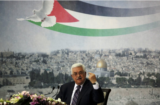 Palestinian President Mahmoud Abbas gestures as he talks in the West Bank city of Ramallah, Friday, Sept. 16, 2011. Abbas is set to address the U.N. next week, planning to ask the world to recognize a Palestinian state. (AP Photo/Tara Todras-Whitehill)
