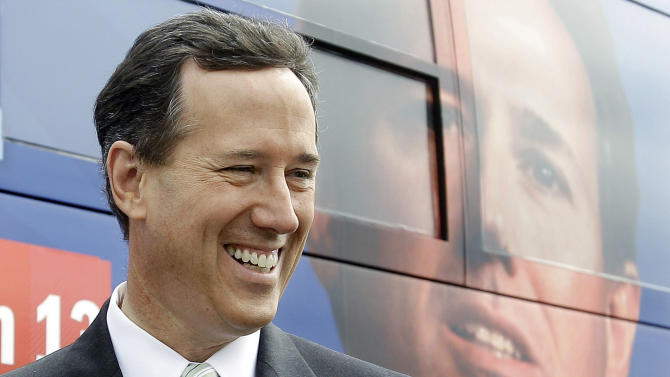 Republican presidential candidate, former Pennsylvania Sen. Rick Santorum talks with supporters during a stop at Sweet Peppers Deli, Sunday, March 11, 2012, in Tupelo, Miss.  (AP Photo/Eric Gay)