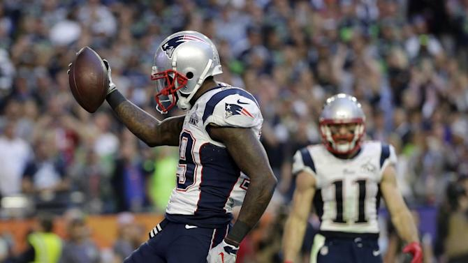 New England Patriots wide receiver Brandon LaFell (19) celebrates after scoring a touchdown during the first half of NFL Super Bowl XLIX football game against the Seattle Seahawks Sunday, Feb. 1, 2015, in Glendale, Ariz. (AP Photo/Matt Slocum)