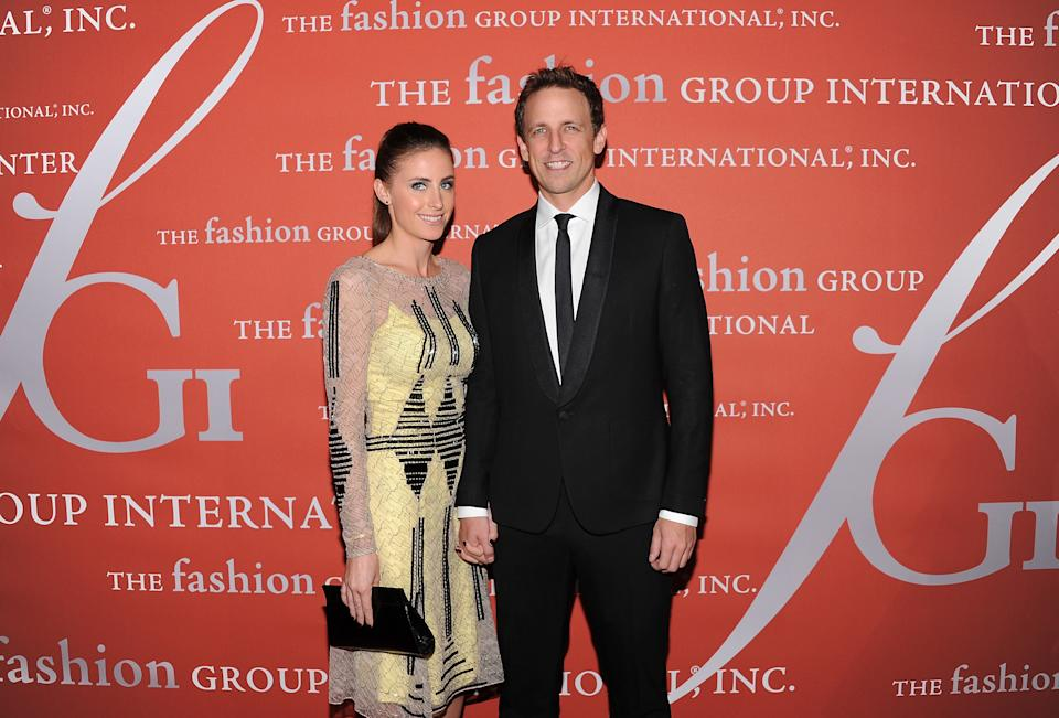 "Actor Seth Meyers and his girlfriend Alexi Ashe attend the 29th Annual ""Night Of Stars"" presented by The Fashion Group International at Cipriani Wall Street on Thursday Oct. 25, 2012 in New York. (Photo by Evan Agostini/Invision/AP)"