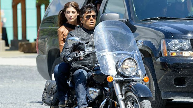 """Chupacabra vs. The Alamo"" -- ""Syfy Original Movie"" -- Pictured: (l-r) Julia Benson as Tracy, Erik Estrada as Carlos"
