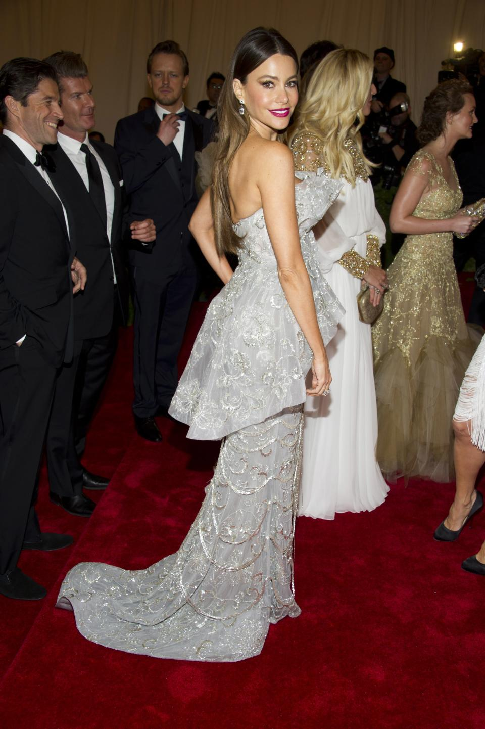 Sofia Vergara arrives at the Metropolitan Museum of Art Costume Institute gala benefit, celebrating Elsa Schiaparelli and Miuccia Prada, Monday, May 7, 2012 in New York. (AP Photo/Charles Sykes)
