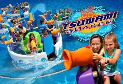 New in 2014 at Six Flags Discovery Kingdom is Tsunami Soaker, an all-new interactive family water ride that arms passengers with giant water pistols to engage in a water battle leaving everyone around soaking wet.