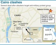 Map of central Cairo in Egypt locating the defence ministry. Thugs attacked an anti-military protest near the defence ministry in Cairo, sparking clashes that killed 20 people in the tense run-up to Egypt&#39;s first post-uprising presidential poll