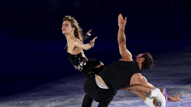 Papadakis and Cizeron of France perform during the exhibition program at the ISU World Team Trophy in Figure Skating in Tokyo