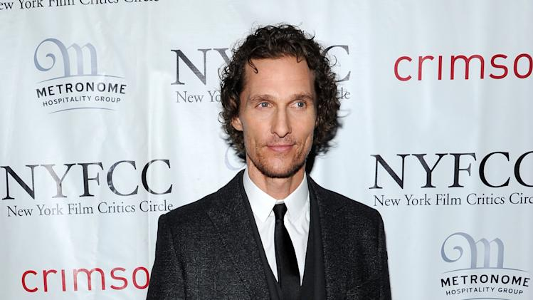"Matthew McConaughey arrives at the New York Film Critics Circle awards dinner at the Crimson Club on Monday Jan. 7, 2013 in New York. McConaughey won the award for best supporting actor for his performances in ""Bernie,"" and ""Magic Mike."" (Photo by Evan Agostini/Invision/AP)"