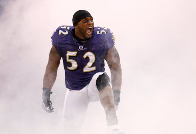 BALTIMORE, MD - JANUARY 13: Linebacker Ray Lewis #52 of the Baltimore Ravens reacts to the crowd while being introduced before a game against the Indianapolis Colts during the AFC Divisional playoff g
