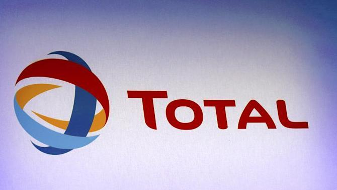 French oil company Total's logo at the company's 2012 annual result presentation in Paris